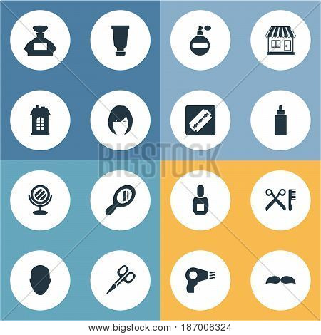 Vector Illustration Set Of Simple Barber Icons. Elements Flask, Bottle, Shaver And Other Synonyms Bottle, Man And Shaver.