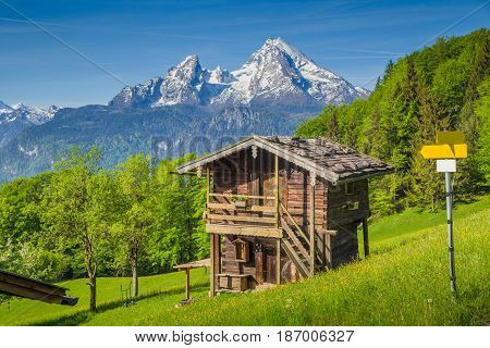 Alpine Scenery With Mountain Hut In Summer