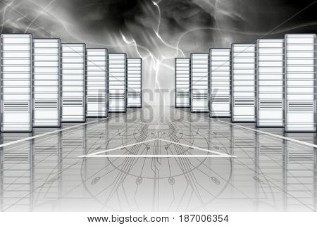 Blocks of servers digital processing and data storage on dark background with flashes of electric discharges