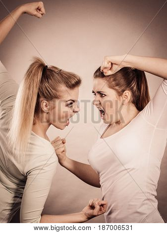 Two Agressive Women Having Argue Fight