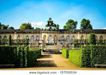 Facade of Sanssouci Palace in springsun Potsdam, Germany.