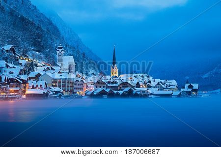 Hallstatt In Mystic Twilight In Winter, Salzkammergut, Austria