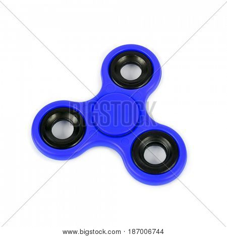a blue fidget spinner on a white background