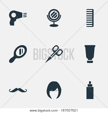 Vector Illustration Set Of Simple Hairdresser Icons. Elements Whiskers, Cut Tool, Hair And Other Synonyms Looking-Glass, Hairdryer And Scissors.