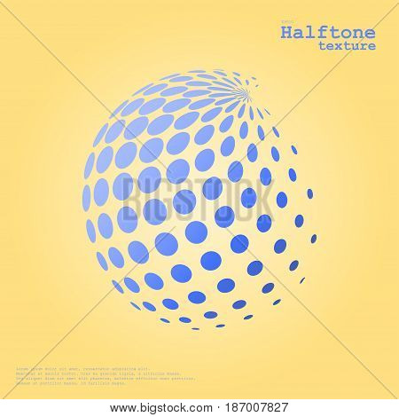 Abstract halftone sphere in blue color isolated over the center of complement color background and with example of text, created for business advertising, presentation, logo, web