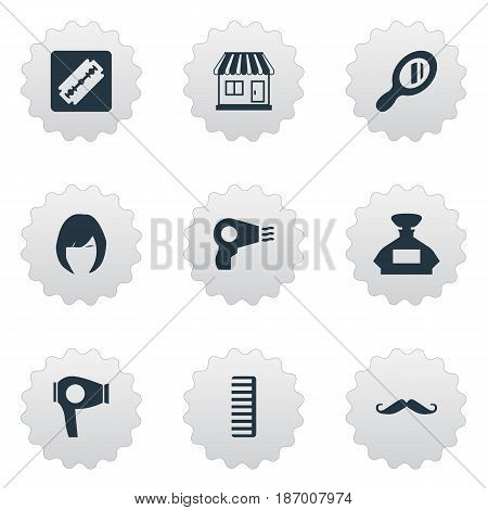 Vector Illustration Set Of Simple Barber Icons. Elements Hackle, Blow Dryer, Shaver And Other Synonyms Comb, Odor And Shop.