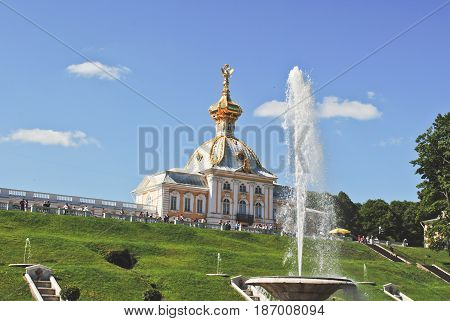PETERHOF, RUSSIA - May 17, 2017. View of the imperial palace