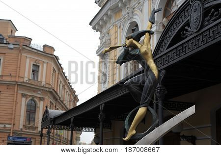 St. Petersburg, Russia - March 25, 2017: Sculpture of clown. Circus Ciniselli in historic centre. tourist sighting in March 25 in St. Petersburg, Russia