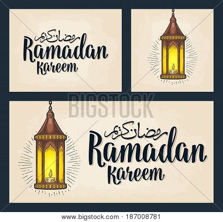 Set horizontal, vertical, square posters. Ramadan kareem lettering and arabic hanging lamp with chain, rays and burning candle. Vintage hand drawn illustration. Isolated on beige background