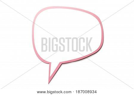 Colorful speech bubble as a cloud with pink border isolated on empty white background. Copy space