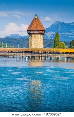 Famous Chapel Bridge With Water Tower, Lucerne, Switzerland
