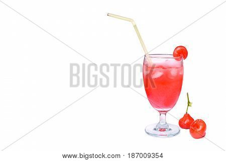 Fresh rose apple juice with ice cubes in glass isolate on white background Rose apple is a tropical fruit, originated in India. The fruit is bright red and combined into a bunch. It shaped like a bell upside down. It is small and slightly sour taste. (Exc