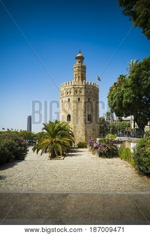 View of Seville in Spain with the Tower of Gold