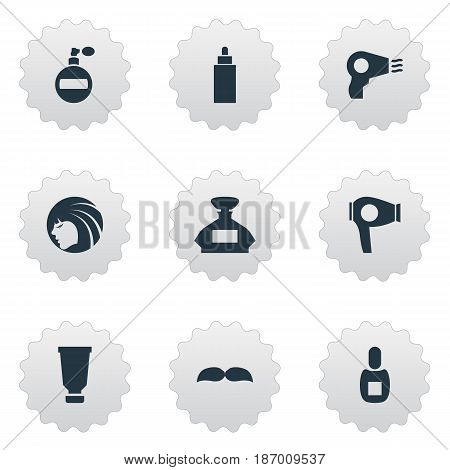 Vector Illustration Set Of Simple Barber Icons. Elements Scent, Aroma, Beard And Other Synonyms Tube, Smell And Beard.