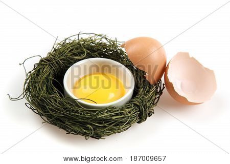 Egg broken egg cracked egg yolk isolated on white protein food