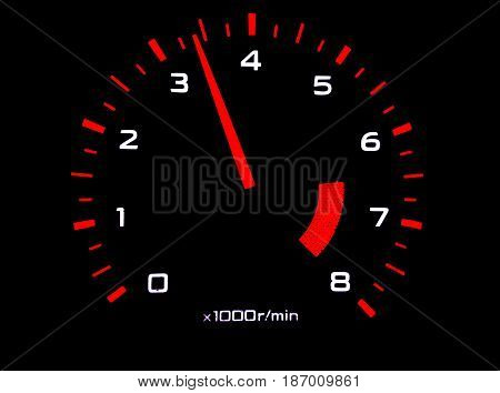 Car tachometer close up isolated on black. High turns of the engine. Acceleration concept.
