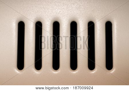 Ventilation system. Metal ventilation grid close up.