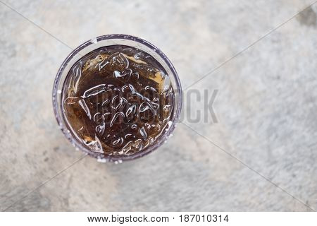 One glass of soft drinks Quenching drinks top view