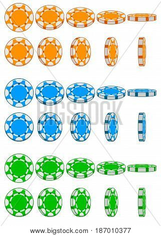 Cartoon collection of 3D colored casino chips, vector animation game rotation, set 2