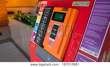 KUALA LUMPUR MALAYSIA - MAR 22 2017: Sunner wifi vending machine technology service for tourist at Oil station in Kuala Lumpur Malaysia.