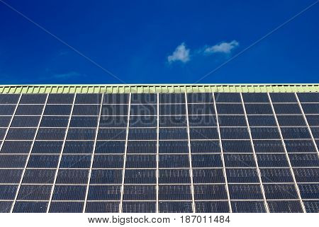 solar panel on a roof with blue sky