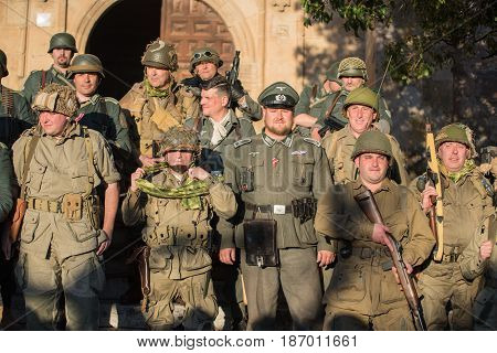 Belorado Spain - May 6 2017: Soldiers during World war 2 reenactment Military historical reconstruction of the battle of Salerno 1943 on May 6 2017 during Expohistorica festival in Belorado Burgos Spain.