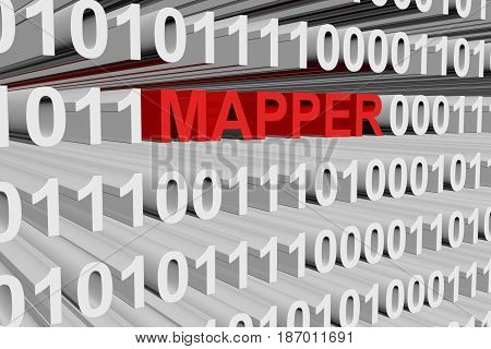 MAPPER in the form of binary code, 3D illustration