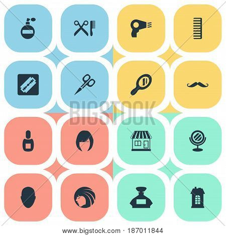 Vector Illustration Set Of Simple Barber Icons. Elements Barber Tools, Flask, Glamour Lady And Other Synonyms Glass, Mirror And Girl.