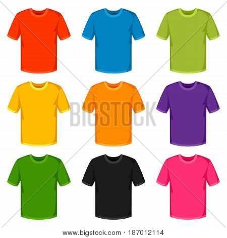 Colored t-shirts templates. Set of promotional and advertising clothes.
