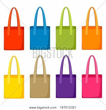 Colored bags templates. Set of promotional gifts and souvenirs.