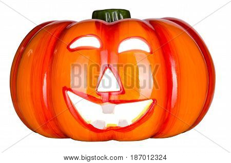orange helloween pumpkin on white background copyspace