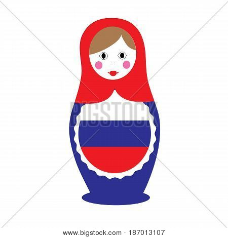 The isolated nested doll on a white background. Russian tradition. Vector Matryoshka.