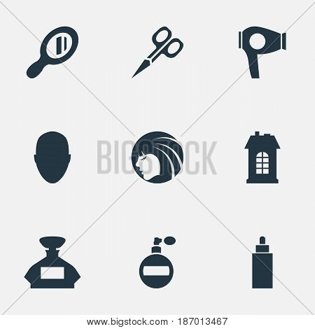 Vector Illustration Set Of Simple Beautician Icons. Elements Premises, Scent, Glamour Lady And Other Synonyms Reflector, Clipper And Girl.