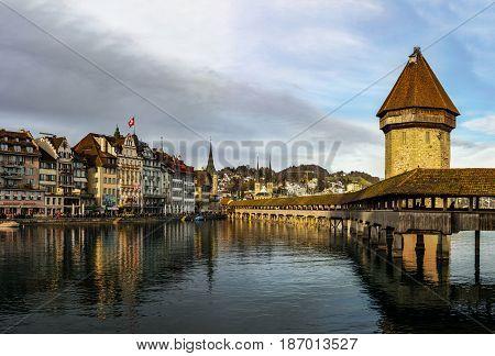 Editorial: 25Th February 2017: Luzern, Switzerland. Old Center Of Luzern Street View