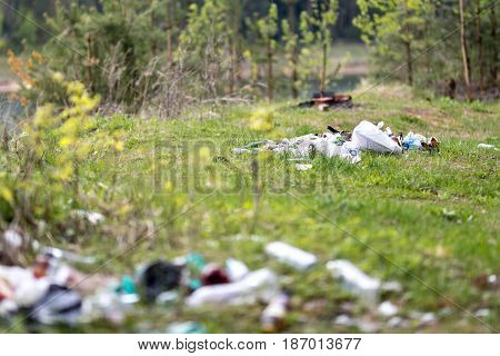 Garbage dump on the nature. Environmental problem