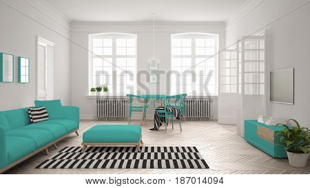 Bright minimalist living room with sofa and dining table scandinavian white and turquoise interior design, 3d illustration