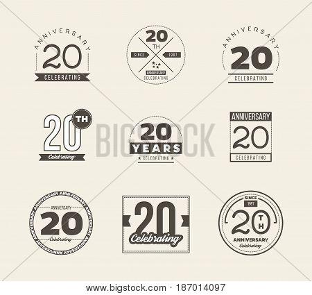 20 years anniversary logo set. Vector illustration.