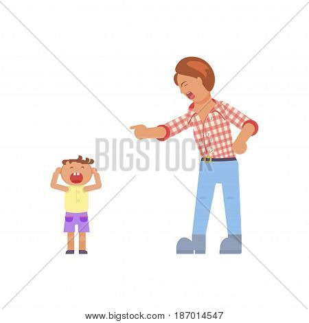 Father shouting at child. Violence in family Vector illustration eps 10.