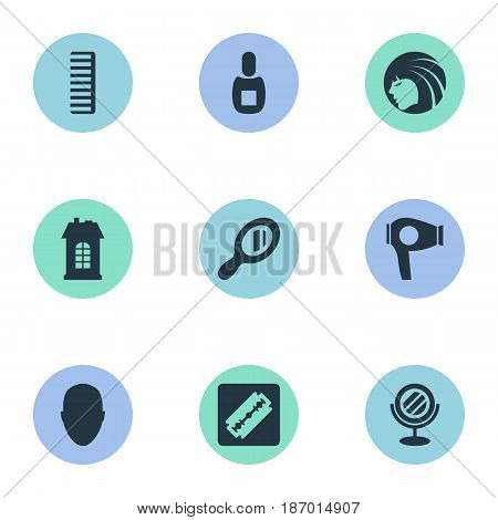 Vector Illustration Set Of Simple Beautician Icons. Elements Shaver, Glamour Lady, Reflector And Other Synonyms Hairdryer, Mirror And Shaver.