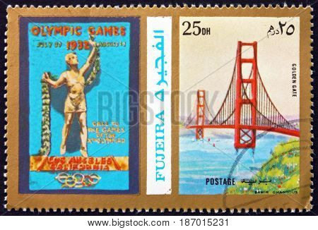 FUJEIRA - CIRCA 1972: a stamp printed in the Fujeira shows Poster of Los Angeles 1932 Olympics Golden Gate Bridge circa 1972
