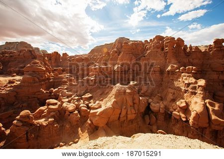 Spectacular landscapes of Goblin valley state park in Utah USA