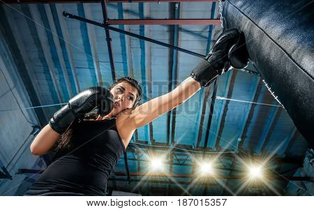 The female boxer and afro american male boxer training box at gym