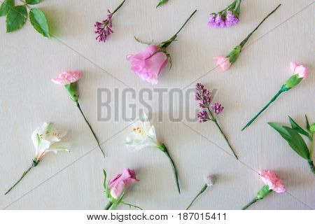 Floristics Hobby And Work. Floral Bouquet Making Process.