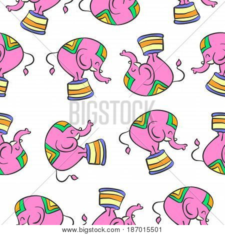 Colorful elephant circus pattern style vector art