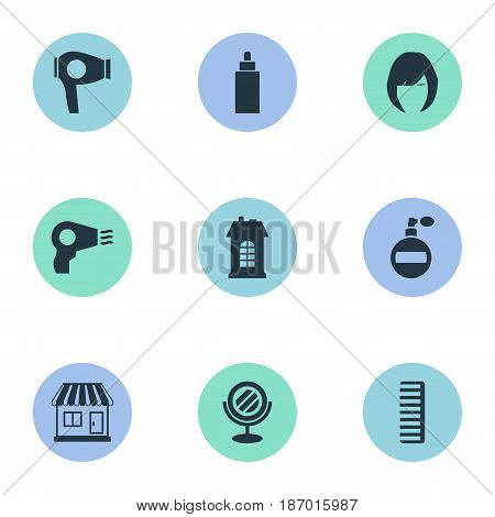 Vector Illustration Set Of Simple Beautician Icons. Elements Peeper, Aroma, Container And Other Synonyms Female, Drying And Looking-Glass.