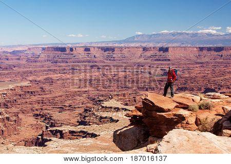 Hiker In Canyonlands National Park In Utah, Usa