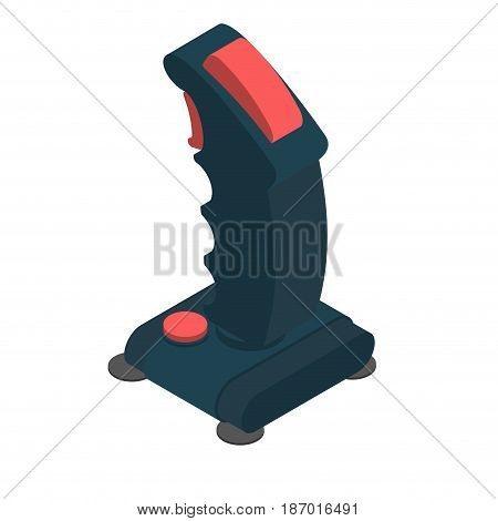 Retro Joystick Steering Isolated. Old Gamepad Wheel For Video Isometry Game. Game Controller 8 Bit