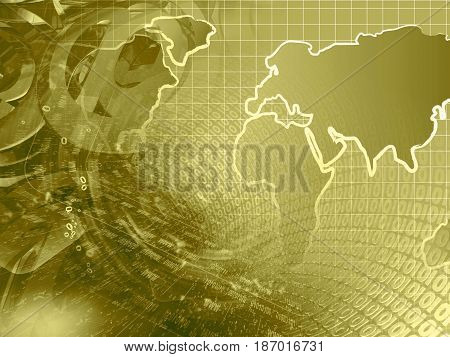 Abstract computer background in sepia - map and digits.