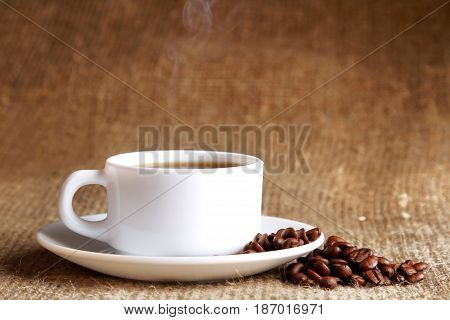 Coffee coffee beans coffee cup cup of coffee drink burlap hot drink