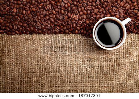 Coffee coffee beans coffee cup caffeine drink cup of coffee burlap